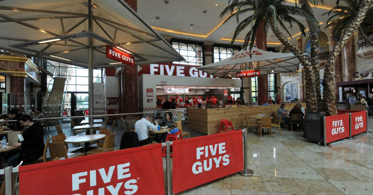 five guys nearby